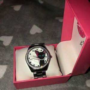 Betsey Johnson Black Cat and Diamonds Watch